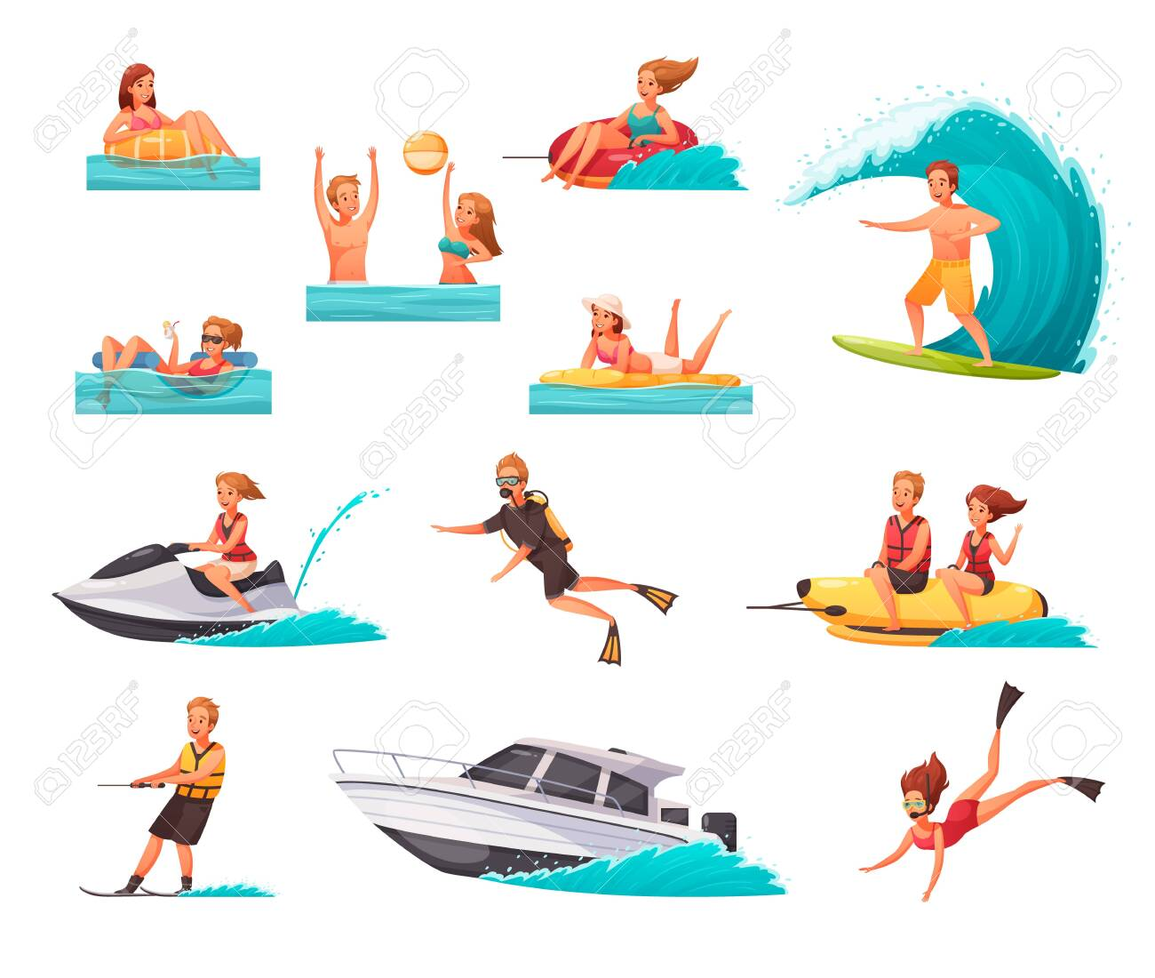 Cartoon set of icons with people doing water sports and playing in sea isolated on white background vector illustration - 132791387