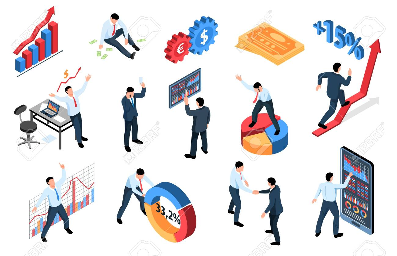 Isometric stock market exchange trading finance set of isolated icons with graphs diagram signs and people vector illustration - 132818855