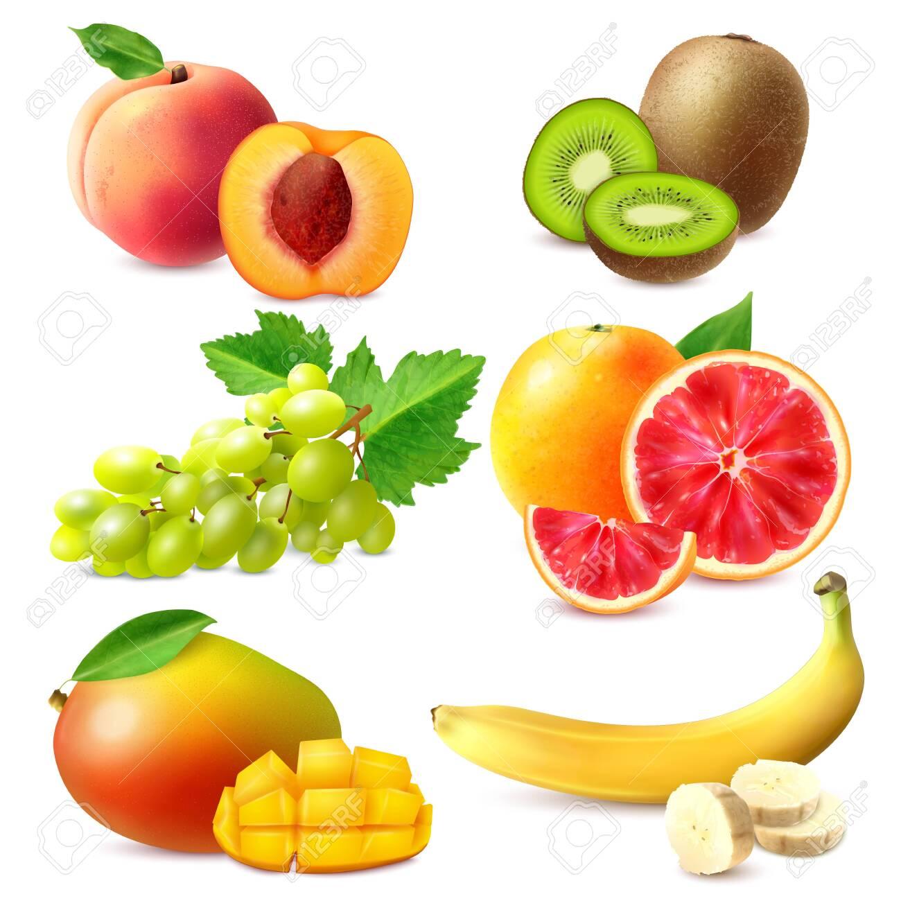 Realistic fruits set with whole and sliced ripe banana mango kiwi grapefruit grapes peach isolated vector illustration - 133933296