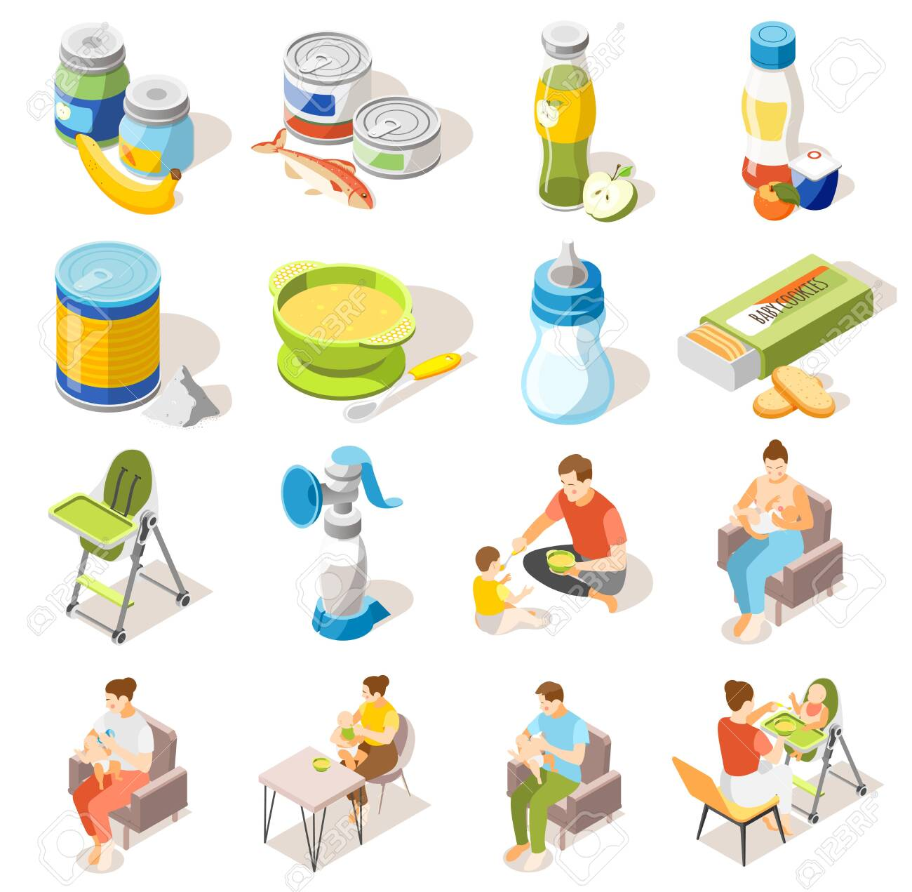 Baby food accessories isometric icons collection with bottle breastfeeding high chair milk powder puree jars vector illustration - 134171191