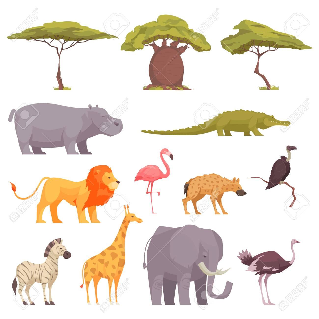 Safari wild animals birds trees flat icons collection with baobab acacia crocodile zebra flamingo lion vector illustration - 134171251