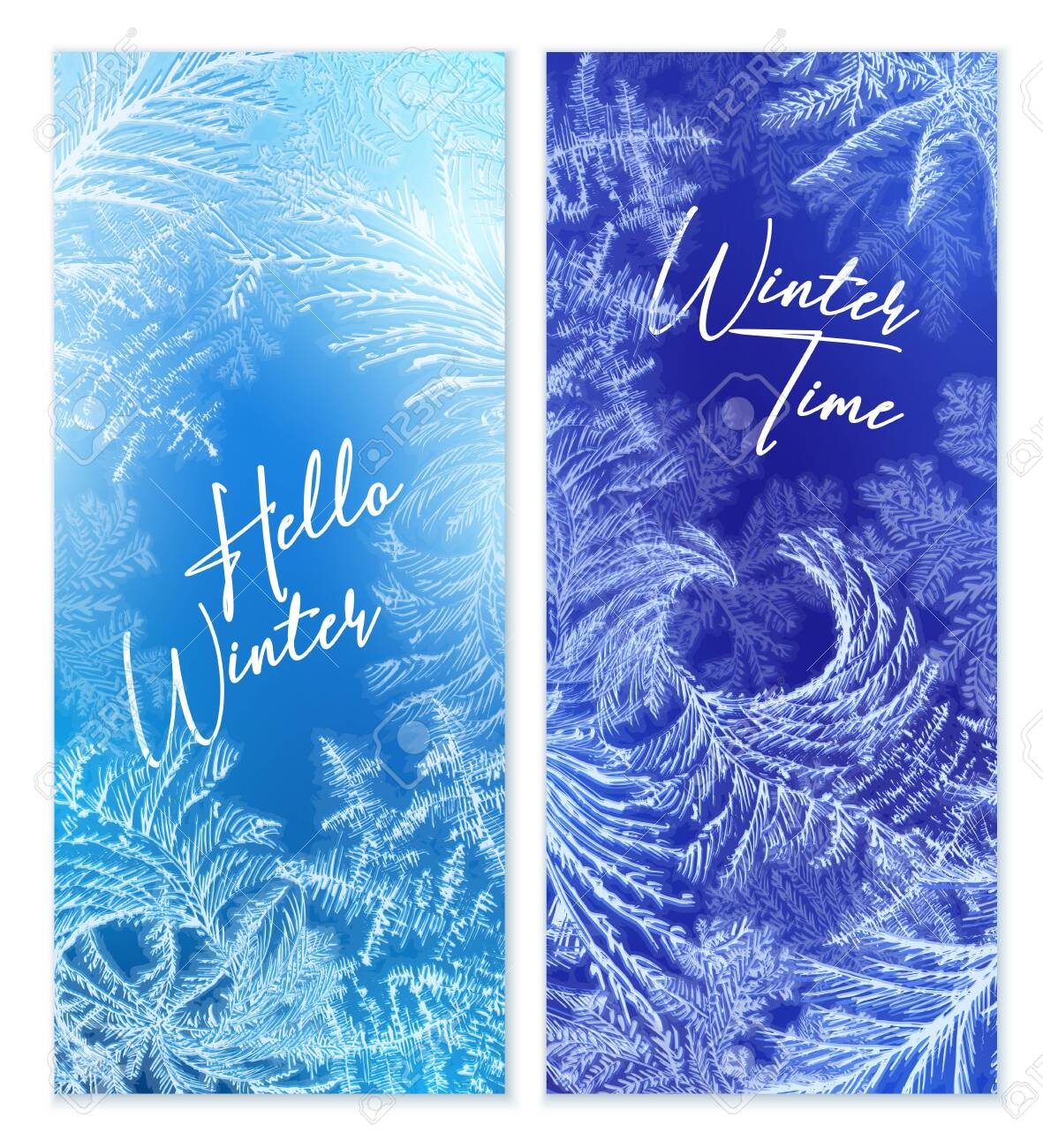 Frost window vertical banners set with winter symbols realistic isolated vector illustration - 135919267
