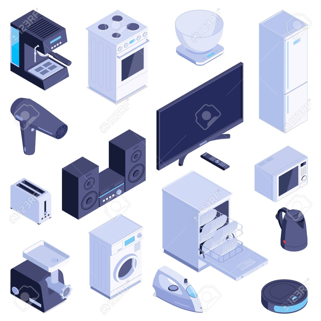 Set with isolated isometric images of household appliances modern domestic machines for home on blank background vector illustration - 136309591