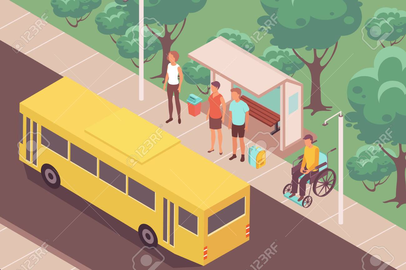 Bus-stop people isometric composition with outdoor landscape and yellow bus near stop with waiting people vector illustration - 139253884