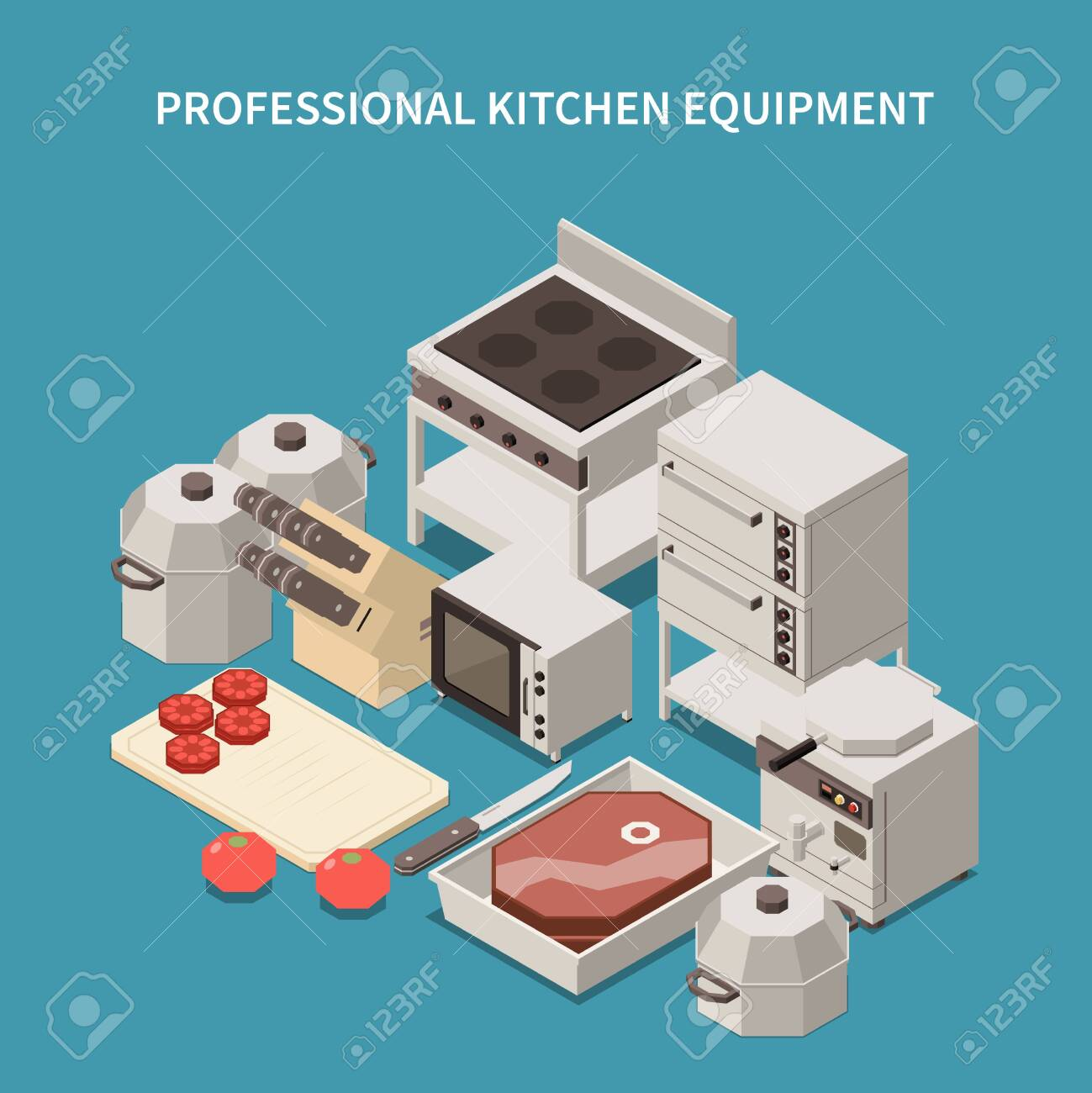 Professional kitchen appliances isometric image with commercial range microwave oven toaster breakfast equipment chef knives vector illustration - 141596850