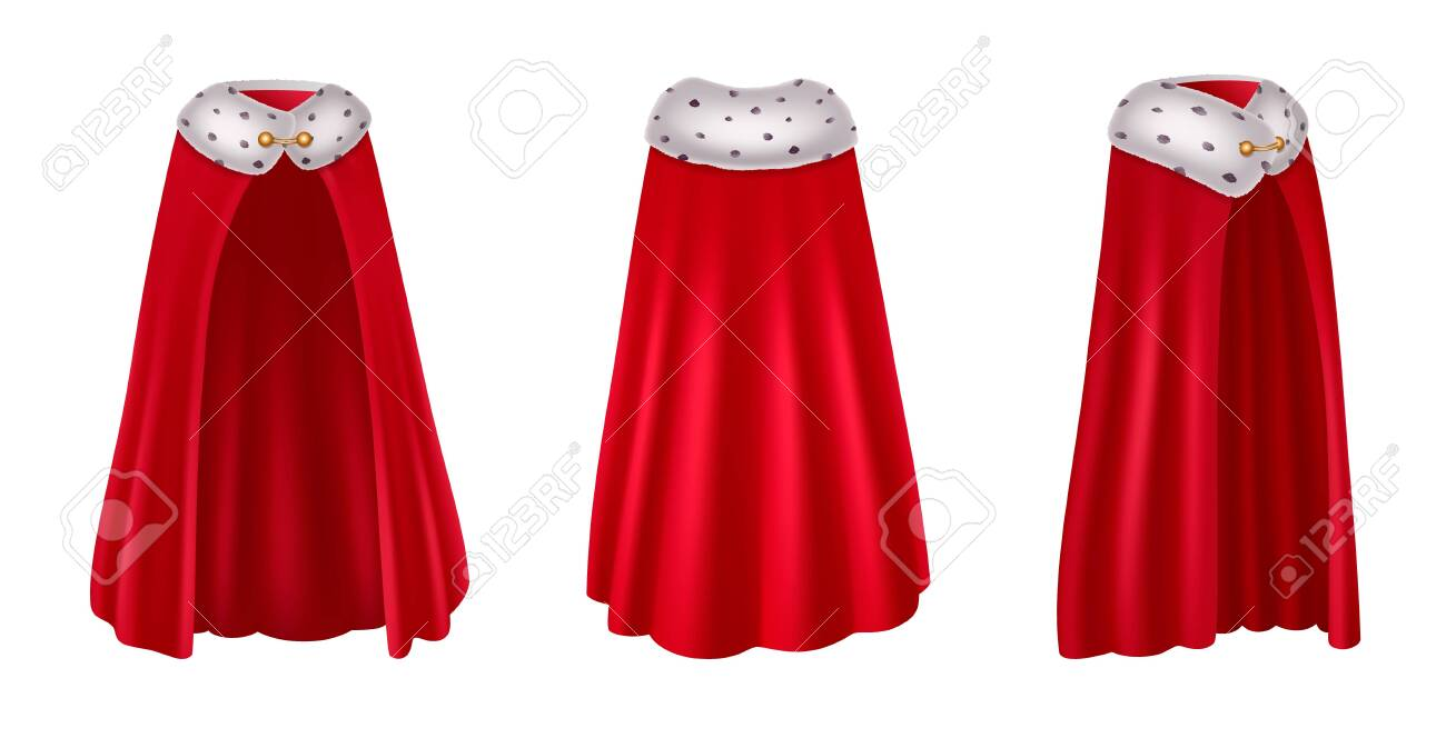 Red Mantle Hood Realistic Images Set With Three Isolated Views Royalty Free Cliparts Vectors And Stock Illustration Image 143462638