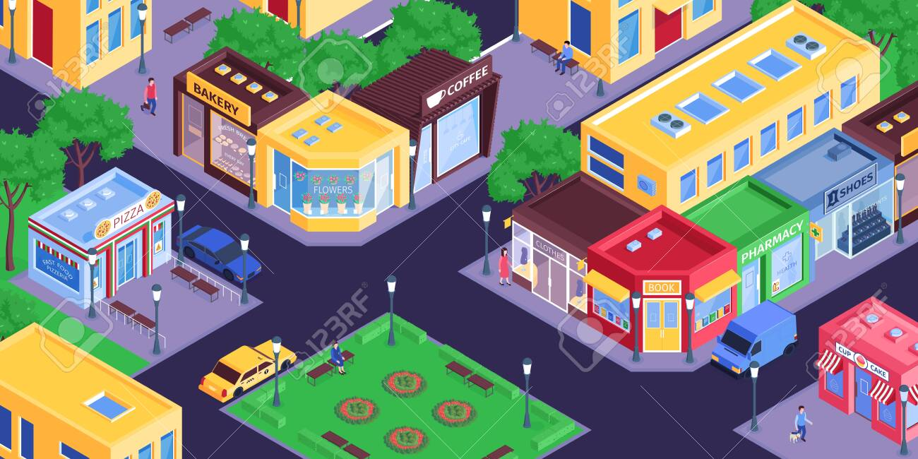 Isometric shops city composition with birds eye view of town district with streets and store buildings vector illustration - 143439518