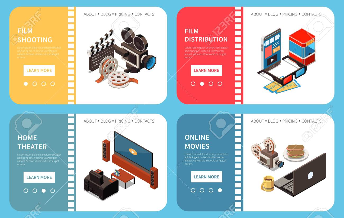 Set of four cinema isometric horizontal banners with compositions of images and clickable learn more buttons vector illustration - 147627198