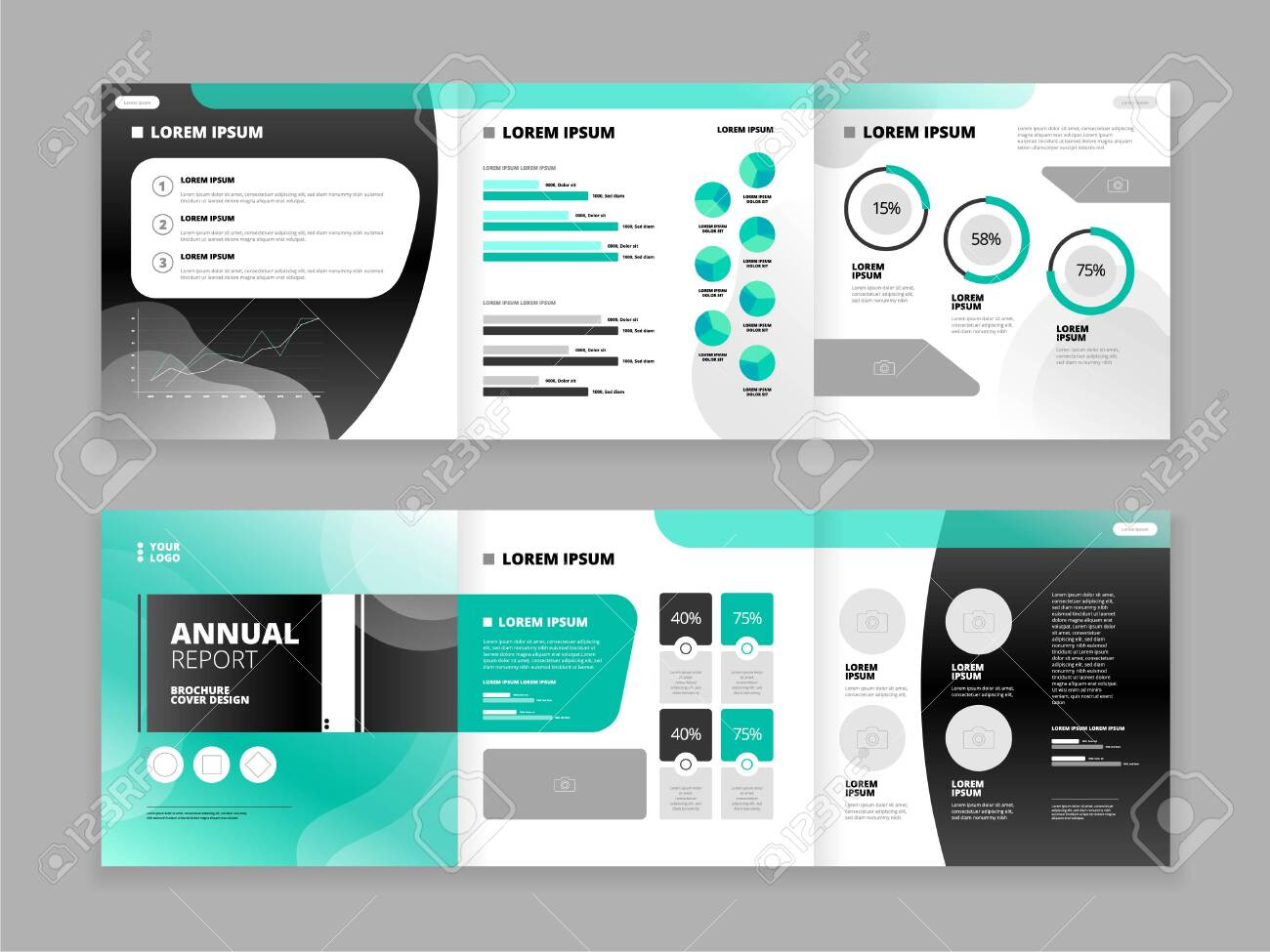 Trifold brochure cover design set for business reports with abstract pattern isolated on grey background flat vector illustration - 149909551