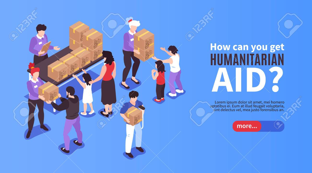 Volunteers giving boxes with humanitarian aid to needy people 3d isometric banner vector illustration - 150677407