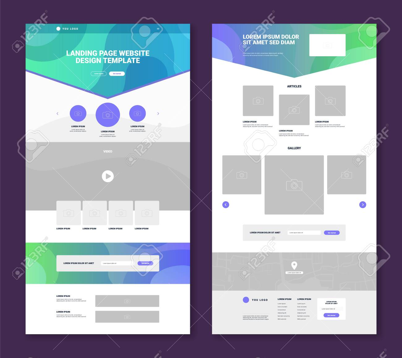 Set of two website landing page templates with simple design gallery articles video map contact form flat isolated vector illustration - 151428455