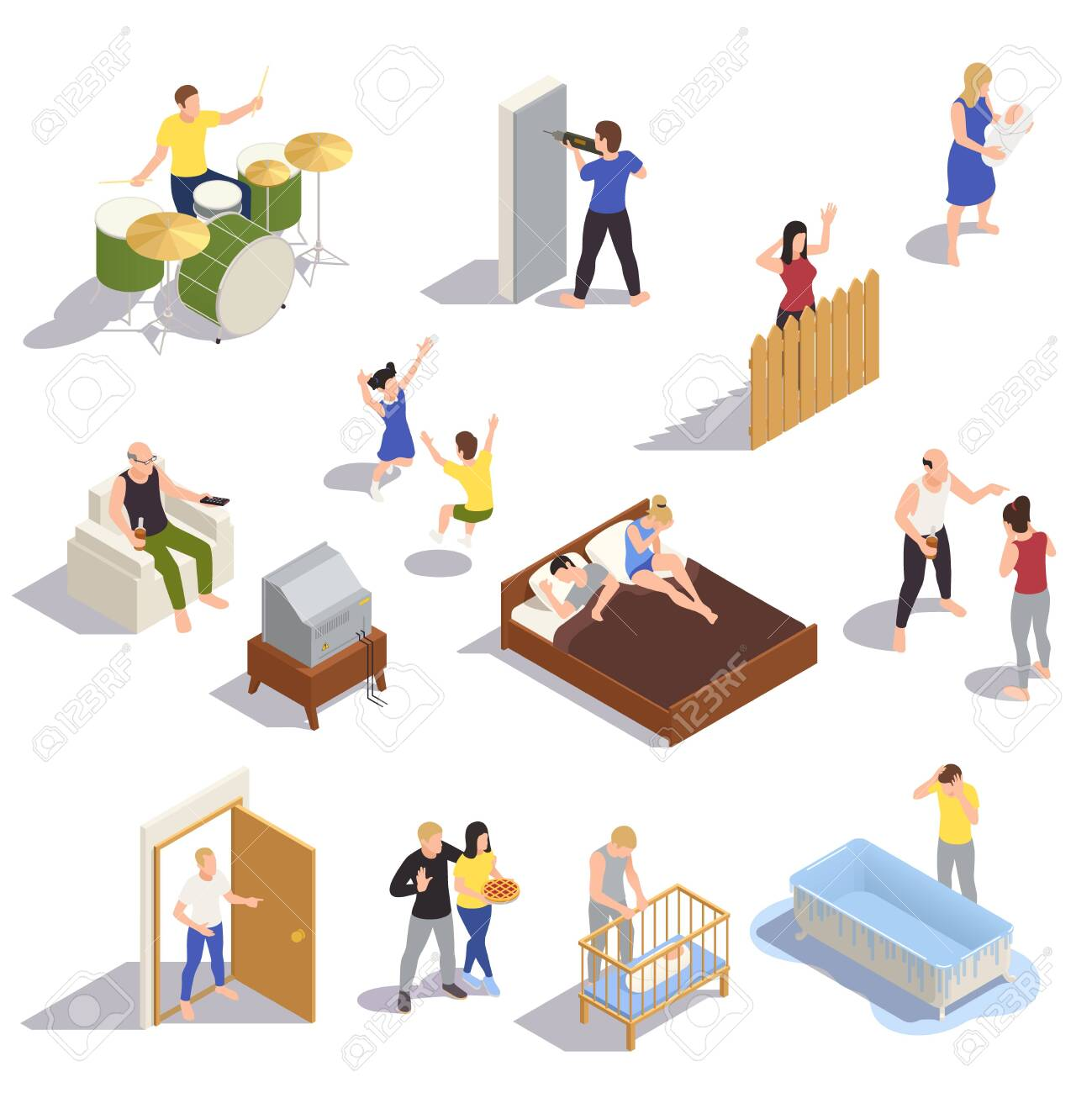Neighbors relations conflicts isometric set with noisy children arguing partners loud music next door drilling vector illustration - 151494108