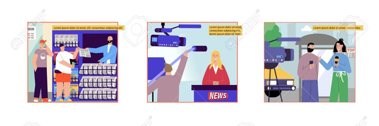 News set of flat compositions with news stall images reporter and newscaster characters with editable text vector illustration - 154388813