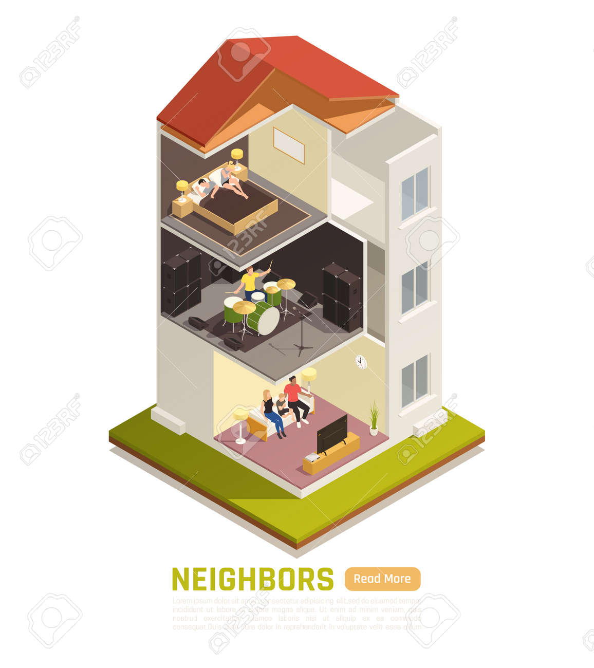 Neighbors relations conflicts excessive noise nuisance suffering from loud music isometric building cutout view vector illustration - 157078068
