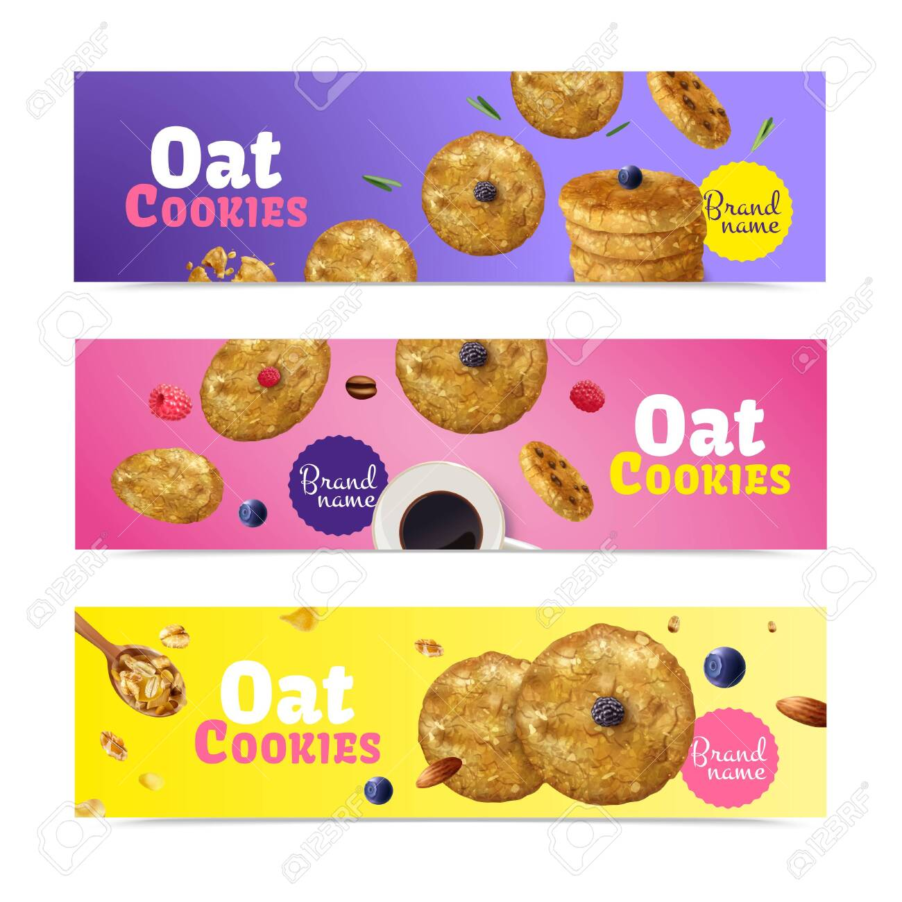 Set Of Three Realistic Oat Cookies Horizontal Banners With Editable Royalty Free Cliparts Vectors And Stock Illustration Image 157605514