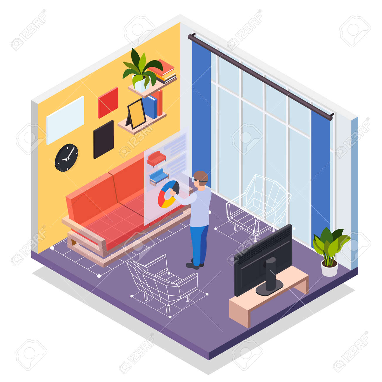 Augmented reality furniture isometric concept with man in vr headset simulating his presence in virtual living room vector illustration - 157862659