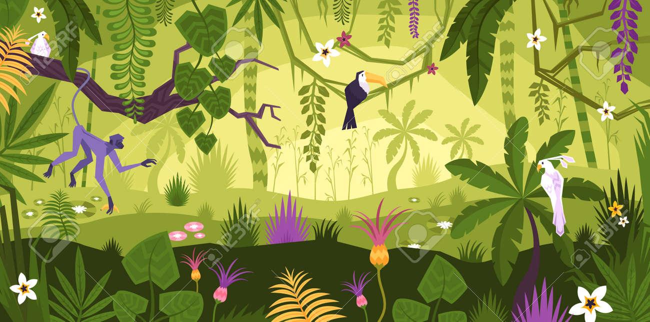 Jungle Rainforest Landscape Composition - 165789234