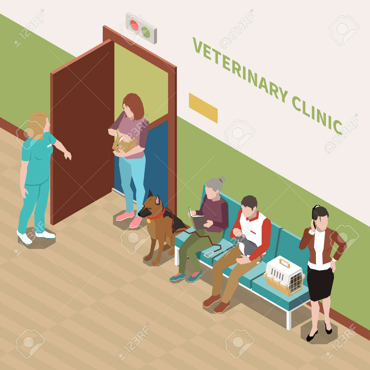 Veterinary Clinic Isometric Interior - 171721571