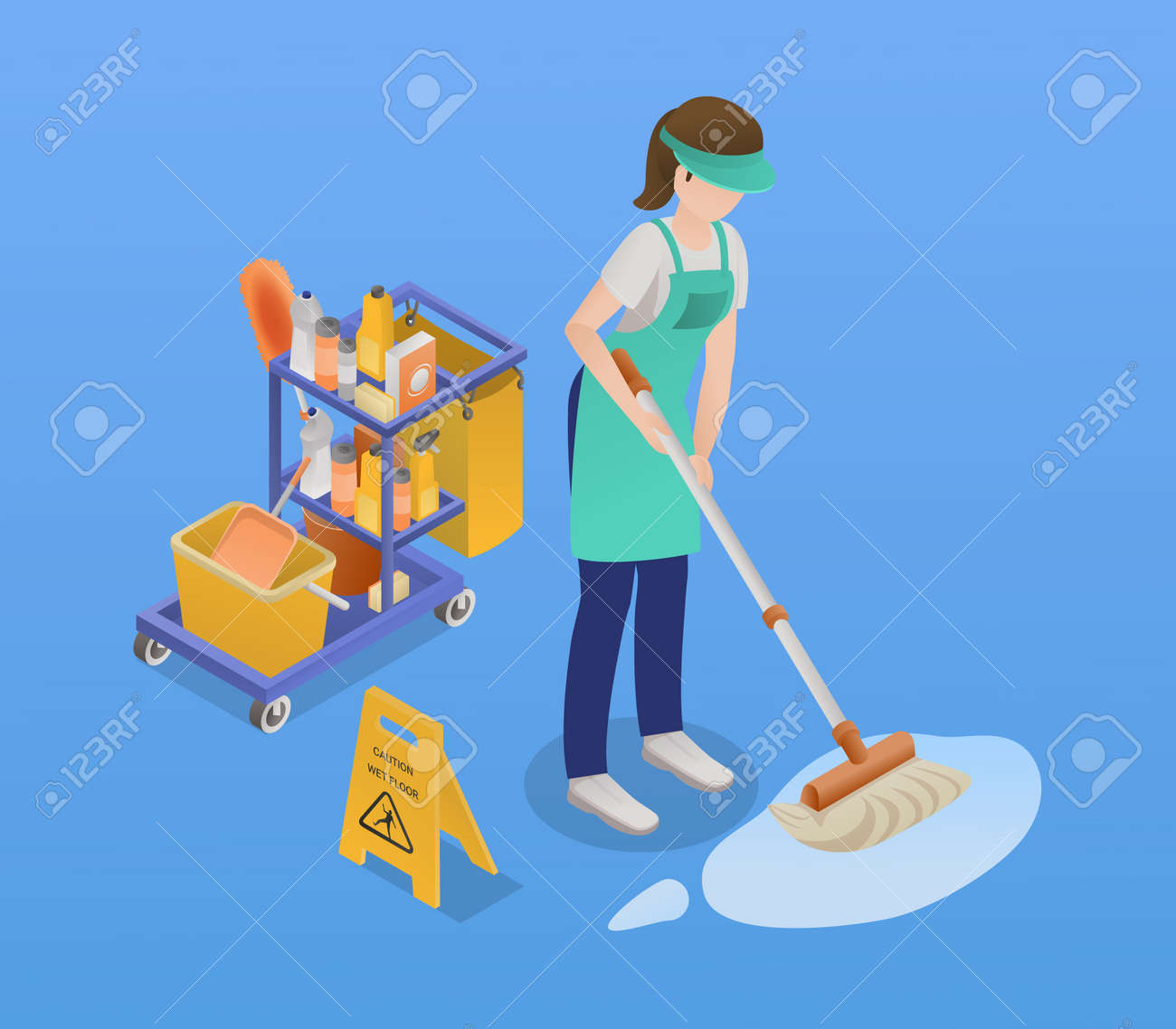 Isometric Professional Cleaning Service Composition - 171636287