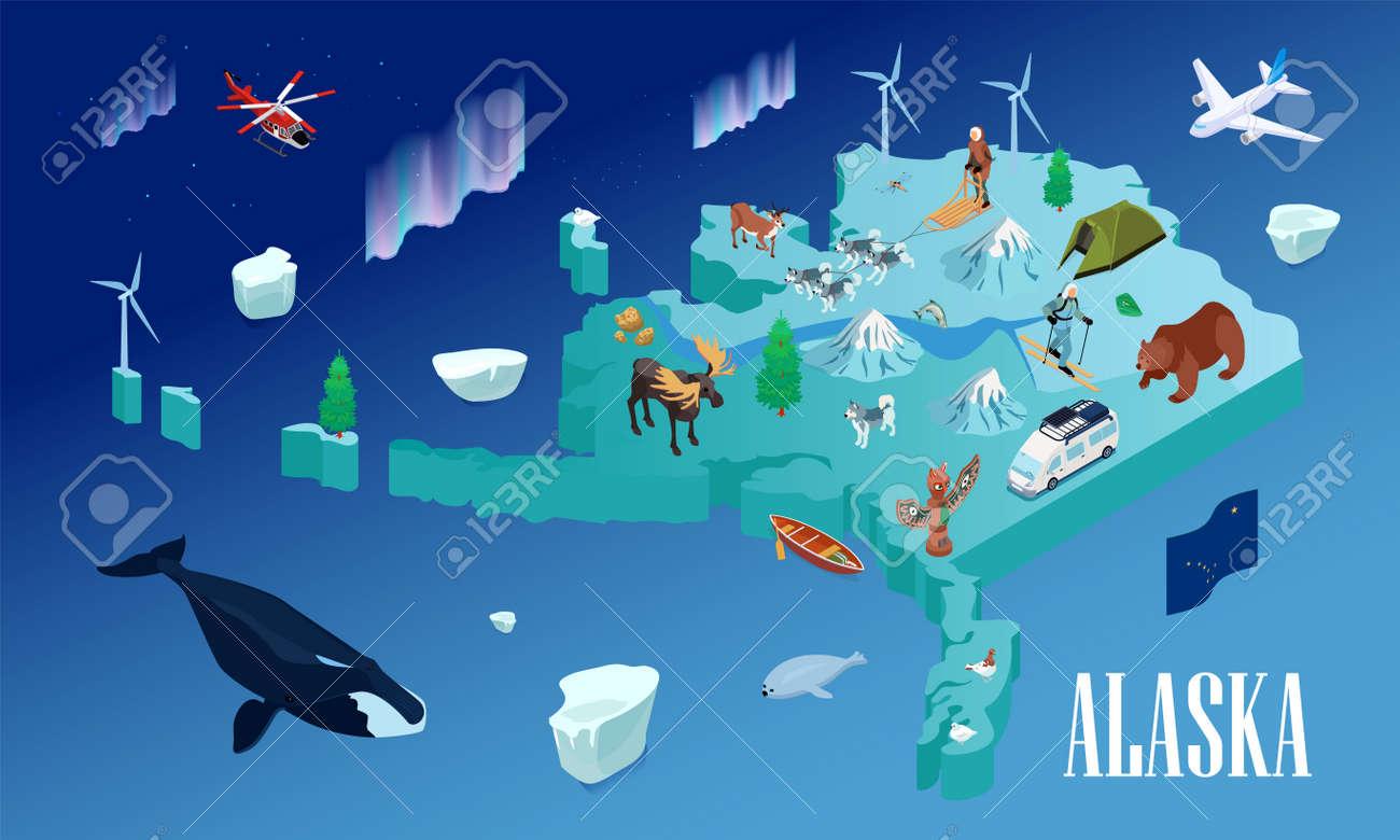 Alaska Travel Isometric Poster - 171636261