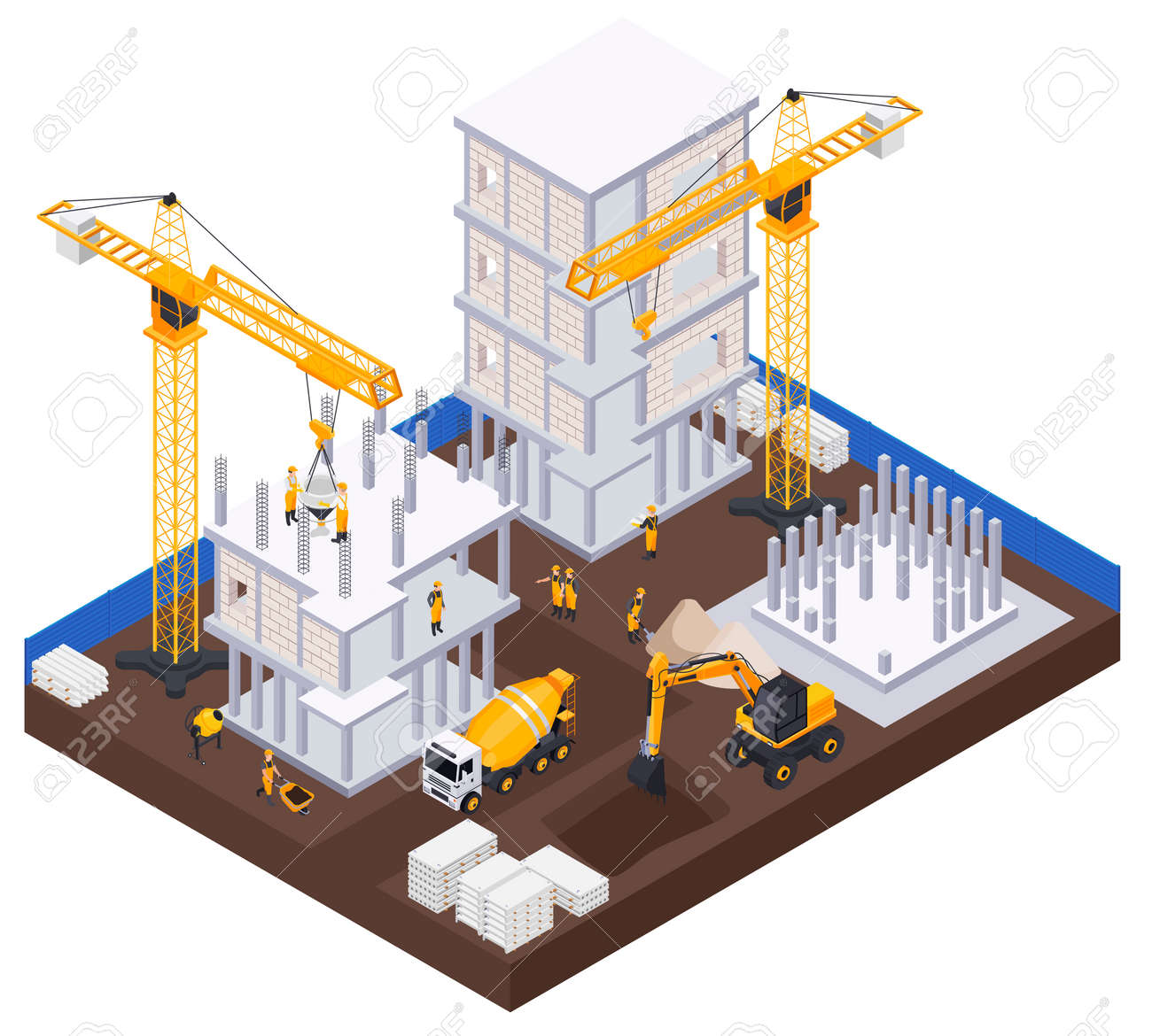 Construction Industry Isometric Concept - 171636213