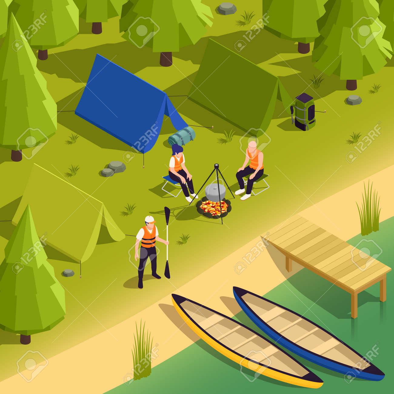 Canoeing Kayaking Campsite Isometric View - 171636029