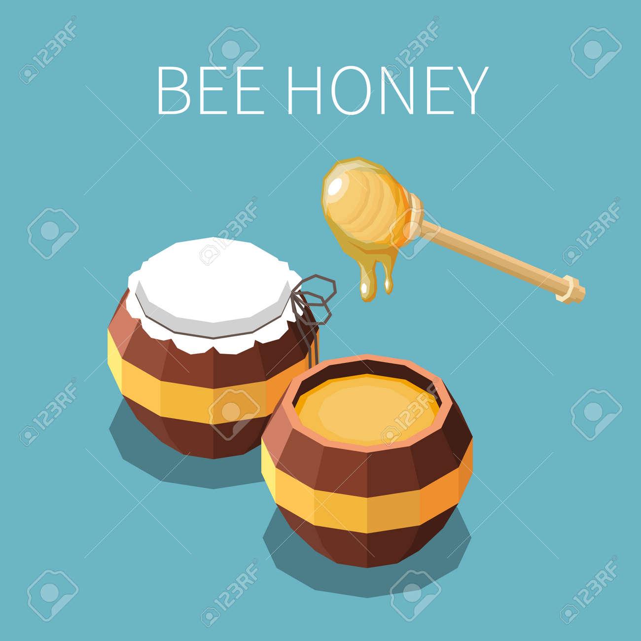 Bee Honey Isometric Background - 171636040
