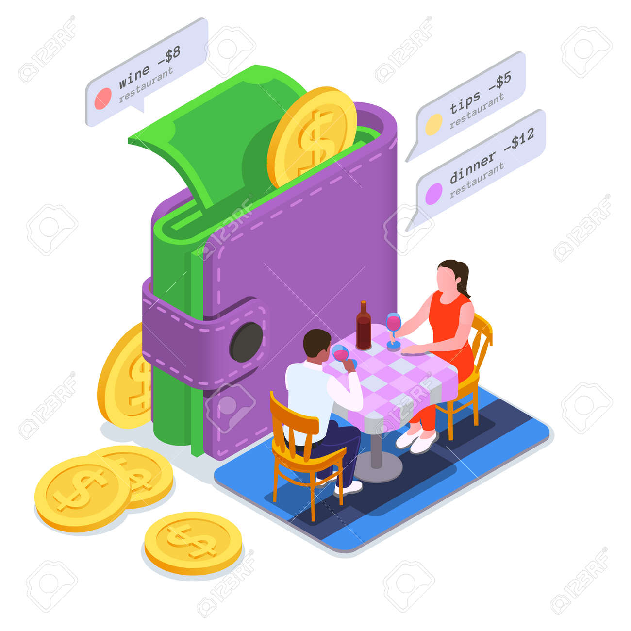 Financial Education Literacy Colored Isometric Composition - 171636219