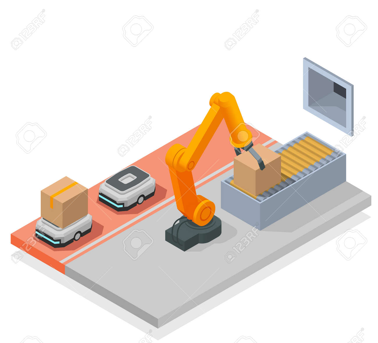 Modern Warehouse Colored Isometric Composition - 171636012