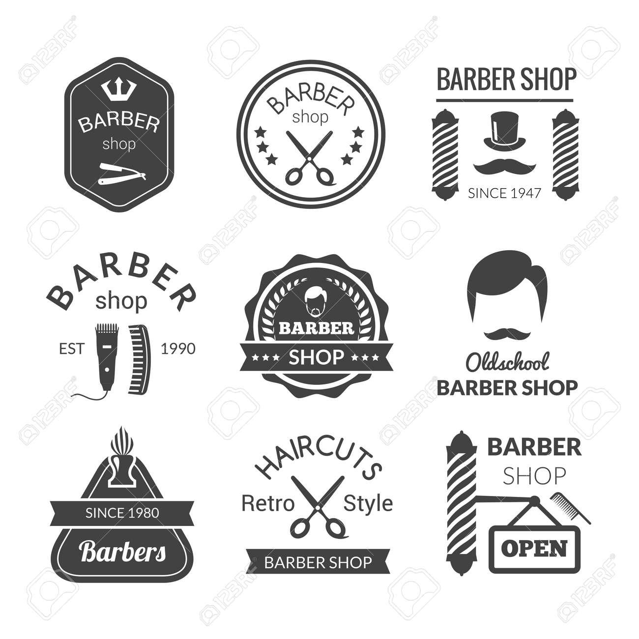 Barber shop emblems set with brush beard cream blade isolated vector illustration - 165739117