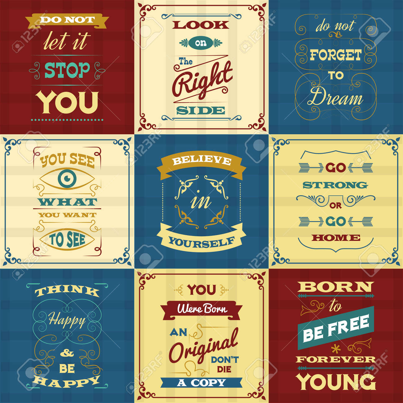 Slogan and motivational sayings typography mini posters set isolated vector illustration - 165626885
