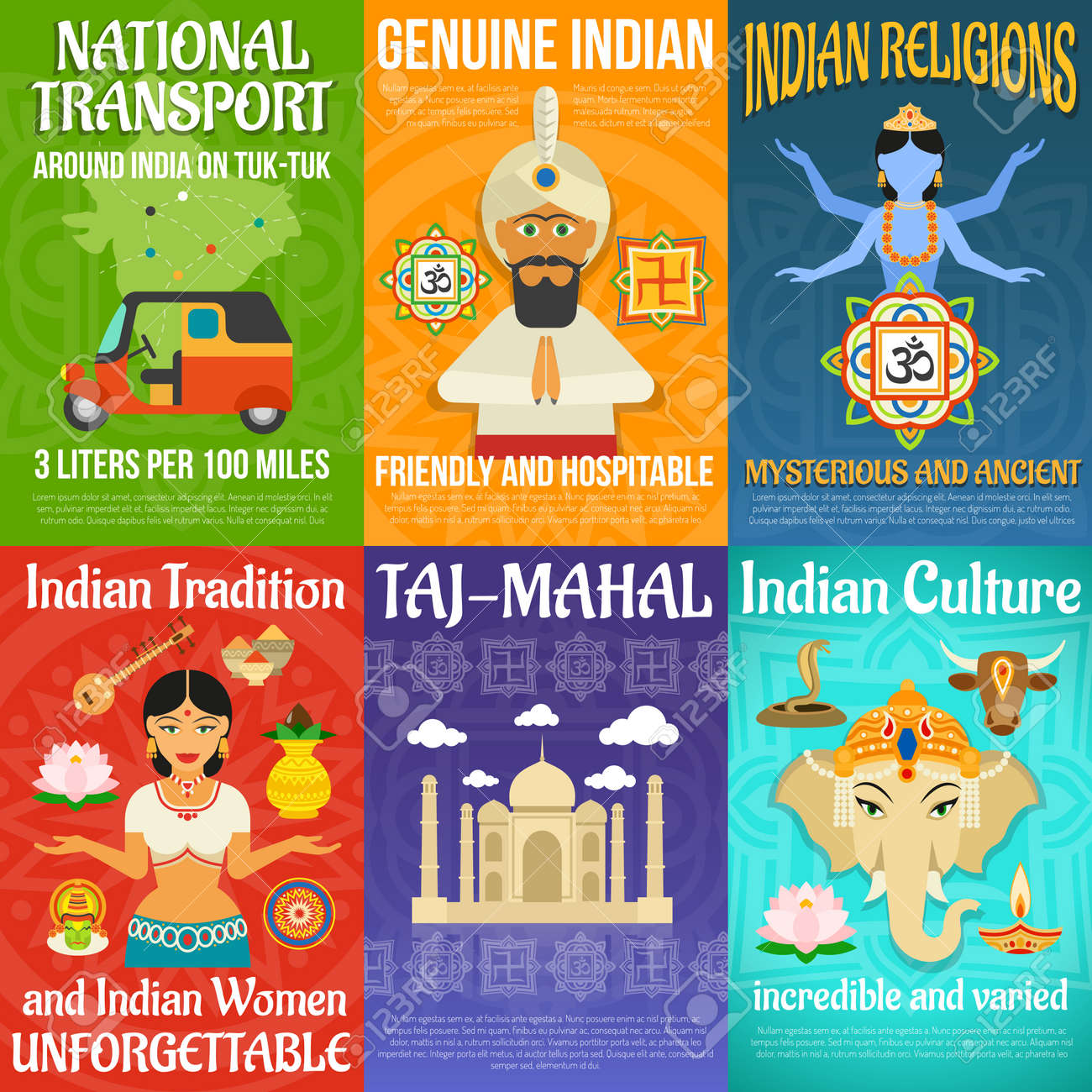 India poster mini set with national transport religions and culture isolated vector illustration - 166305707