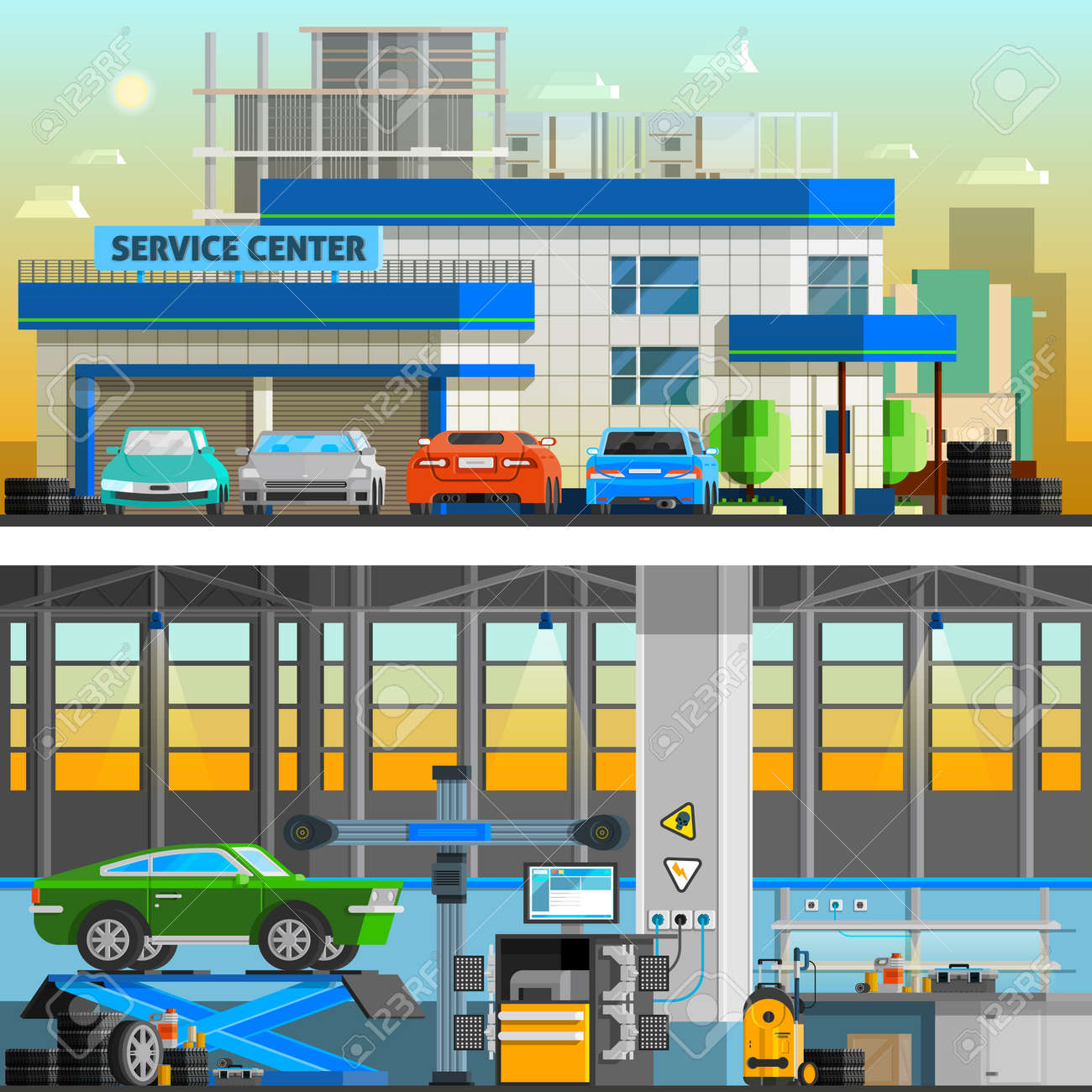Auto service flat horizontal banners with parking near service center building and workshop indoor interior with equipment for diagnostics and repair automobiles vector illustration - 164298172