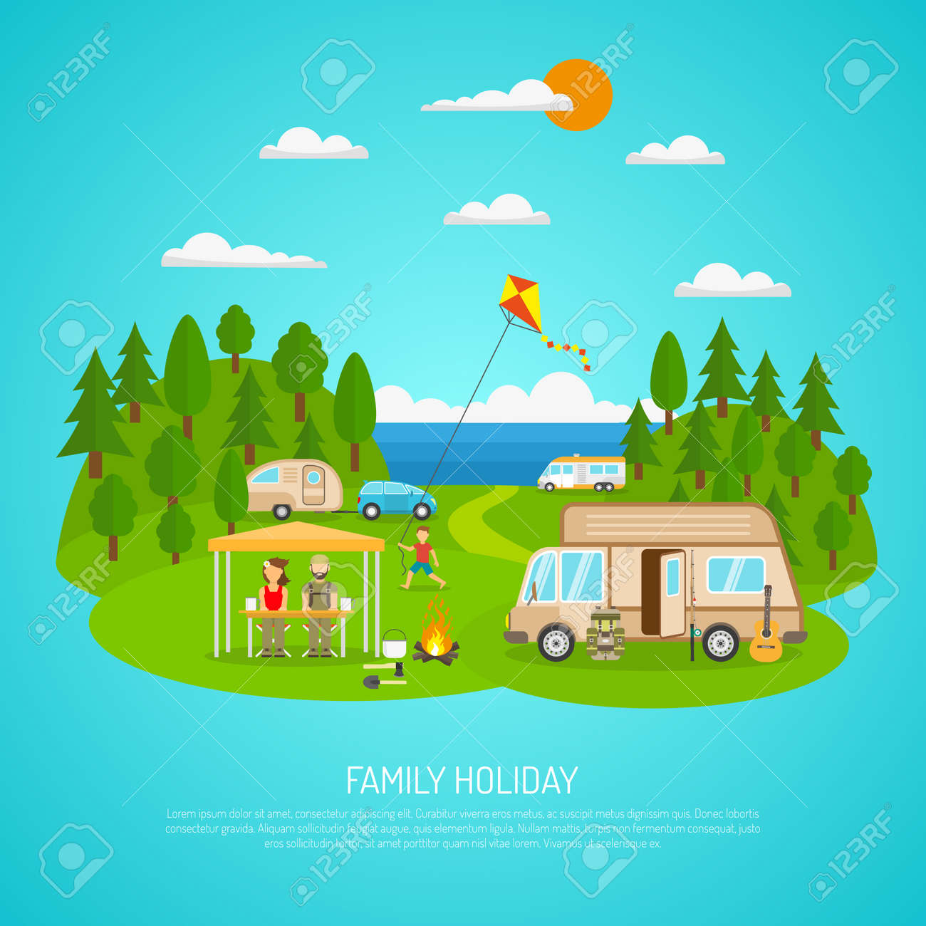 Family camping by the sea with motorhomes forest and fires flat vector illustration - 164599767
