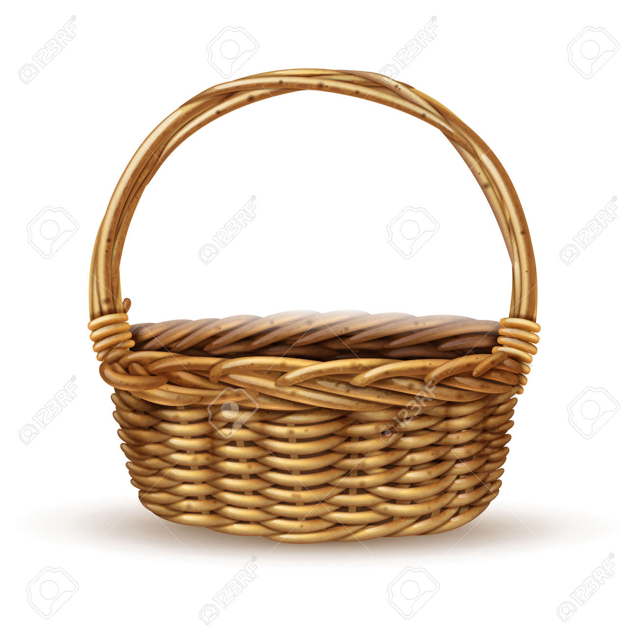 Traditional country style willow peasant basket with handle close-up side view with shadow realistic vector illustration - 165565892