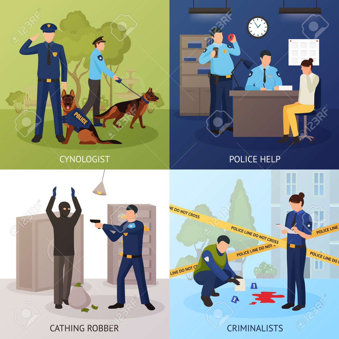 Police officers work 4 flat icons square with bank robber seizure and crime scene investigation isolated vector illustration - 165234439