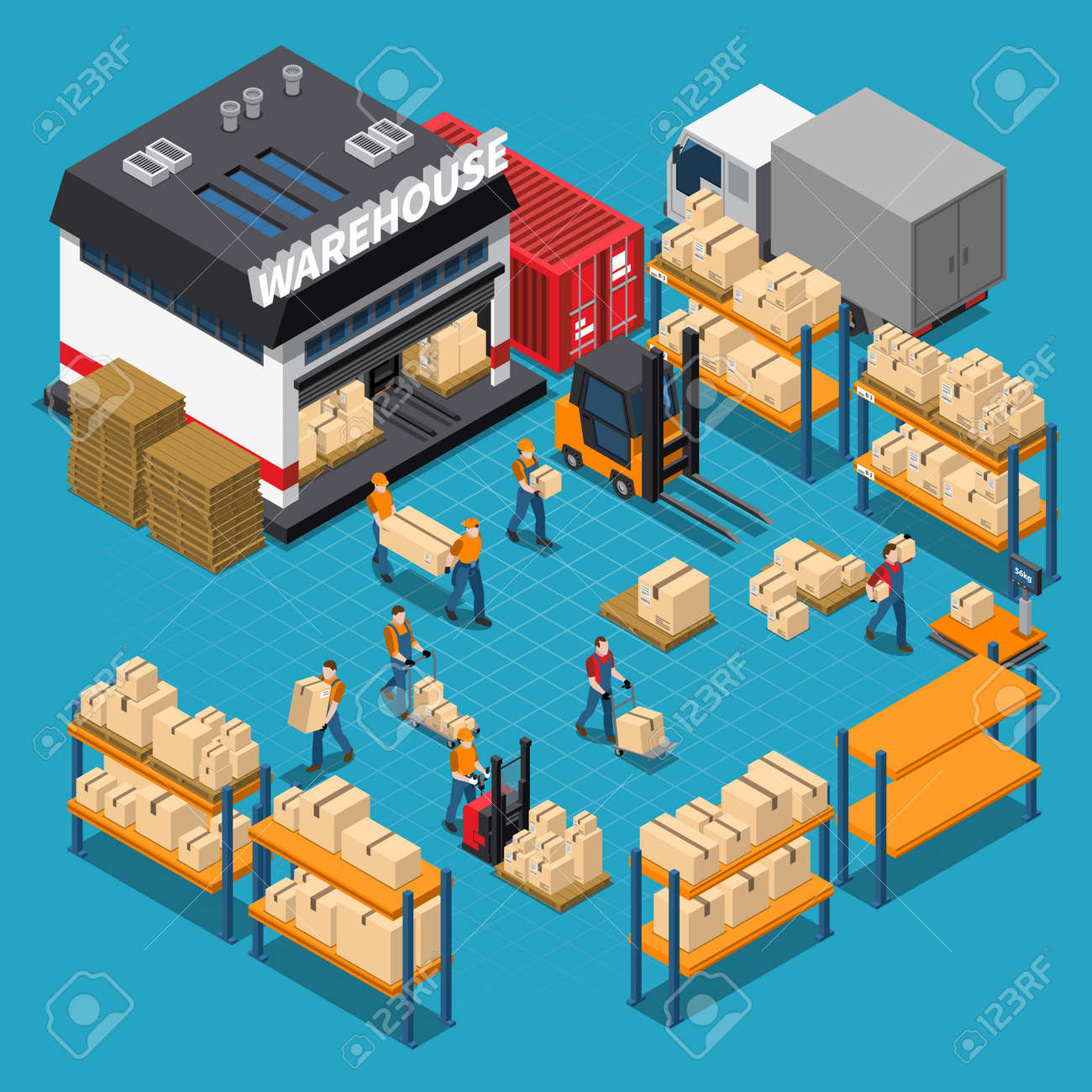 Warehouse isometric composition with employees and storage building shelves and boxes transportation on blue background vector illustration - 165234450