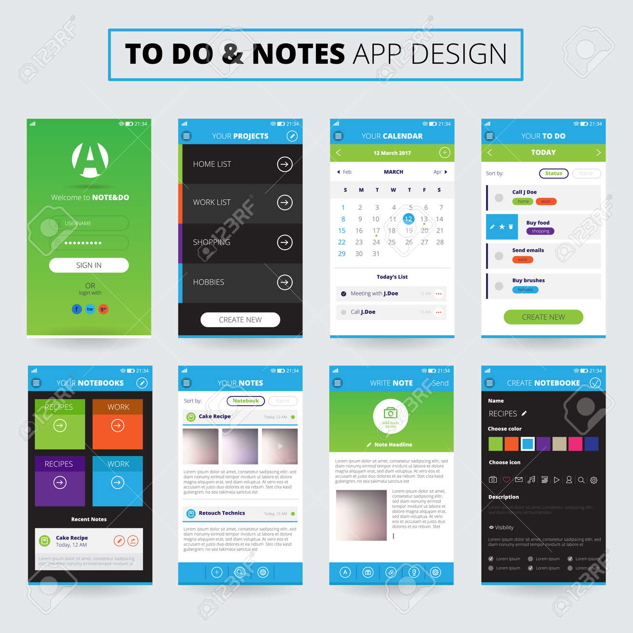 Mobile apps design for notes and projects on smartphone screens with icons and settings isolated vector illustration - 165189296