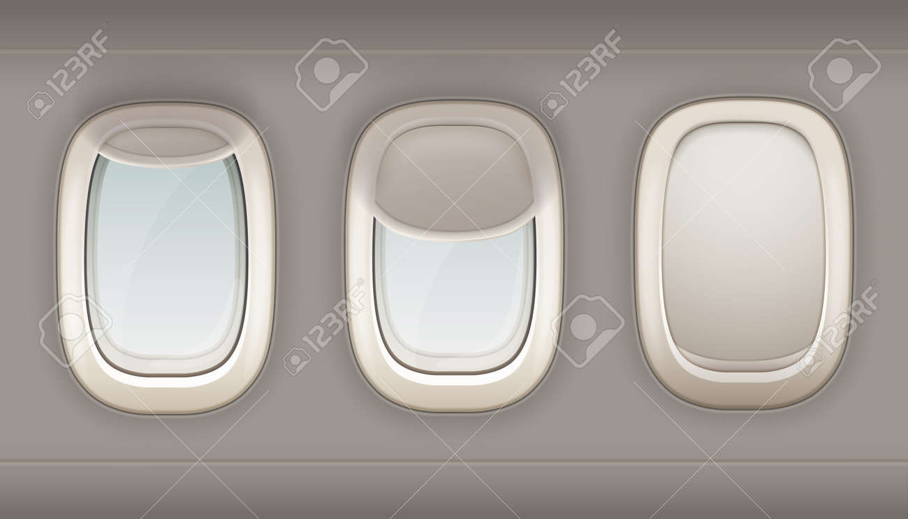 Three realistic portholes of airplane from white plastic with open and closed window shades vector illustration - 165187229