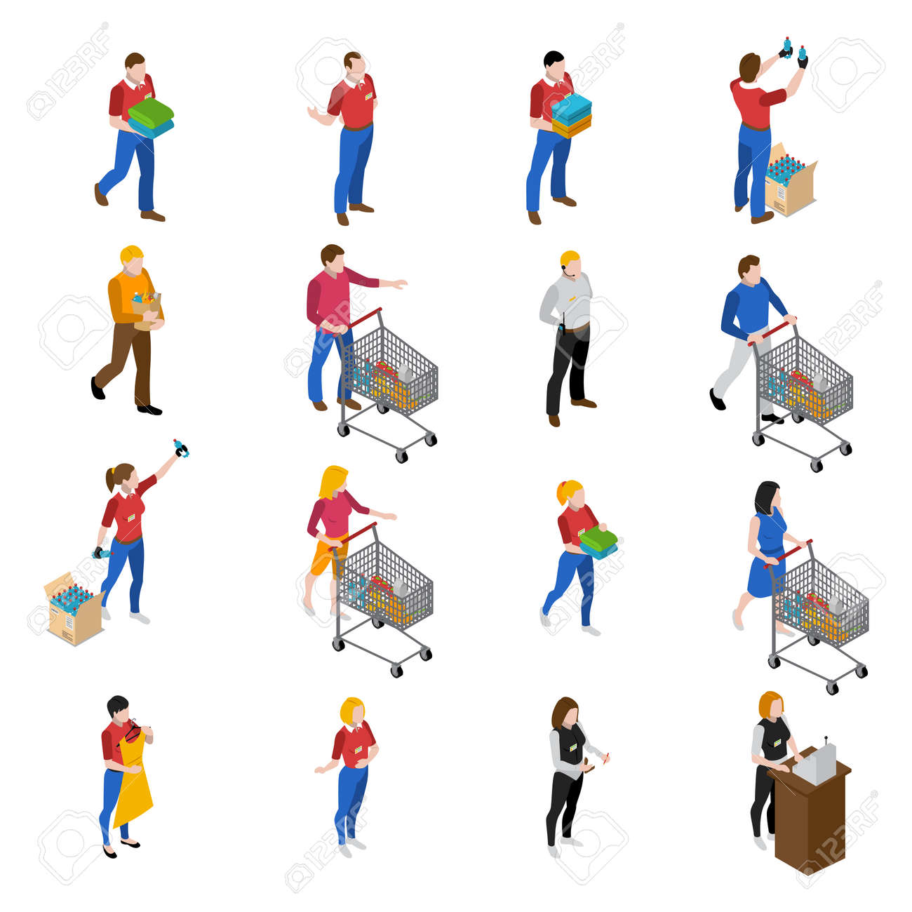 Supermarket isometric icons set with people and food isolated vector illustration - 165571479