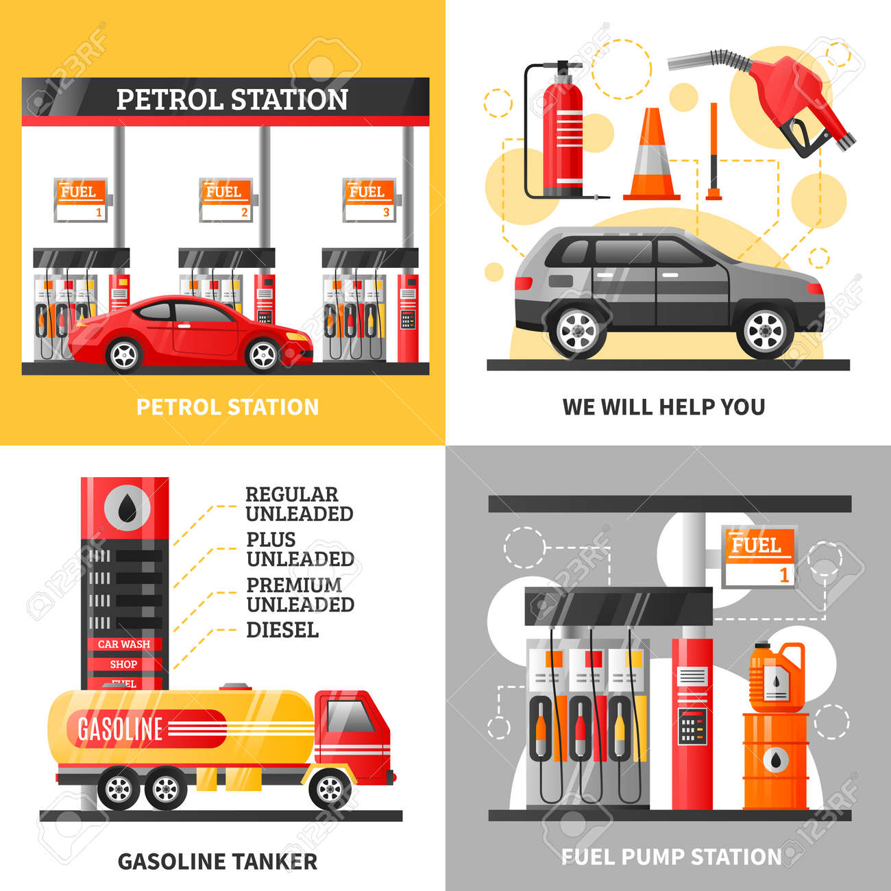 Gas and petrol station 2x2 design concept with petrol station gasoline tanker and fuel pump station flat vector illustration - 165571971