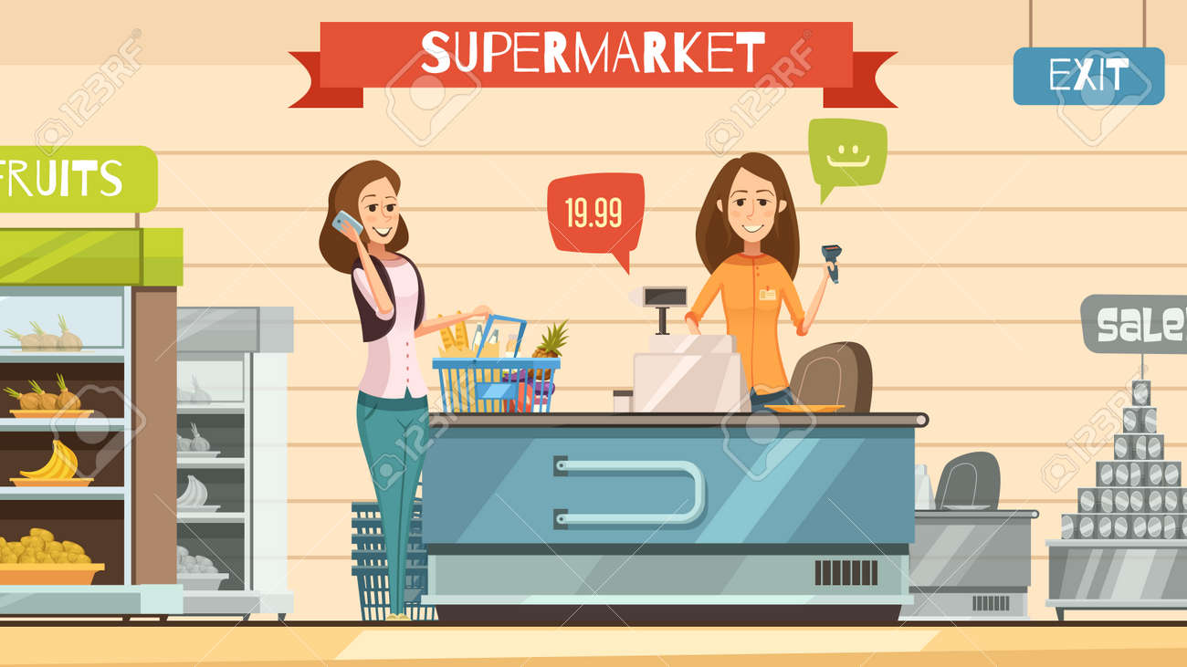 Supermarket store cashier and customer with grocery basket at cash register retro cartoon poster vector illustration - 165581066