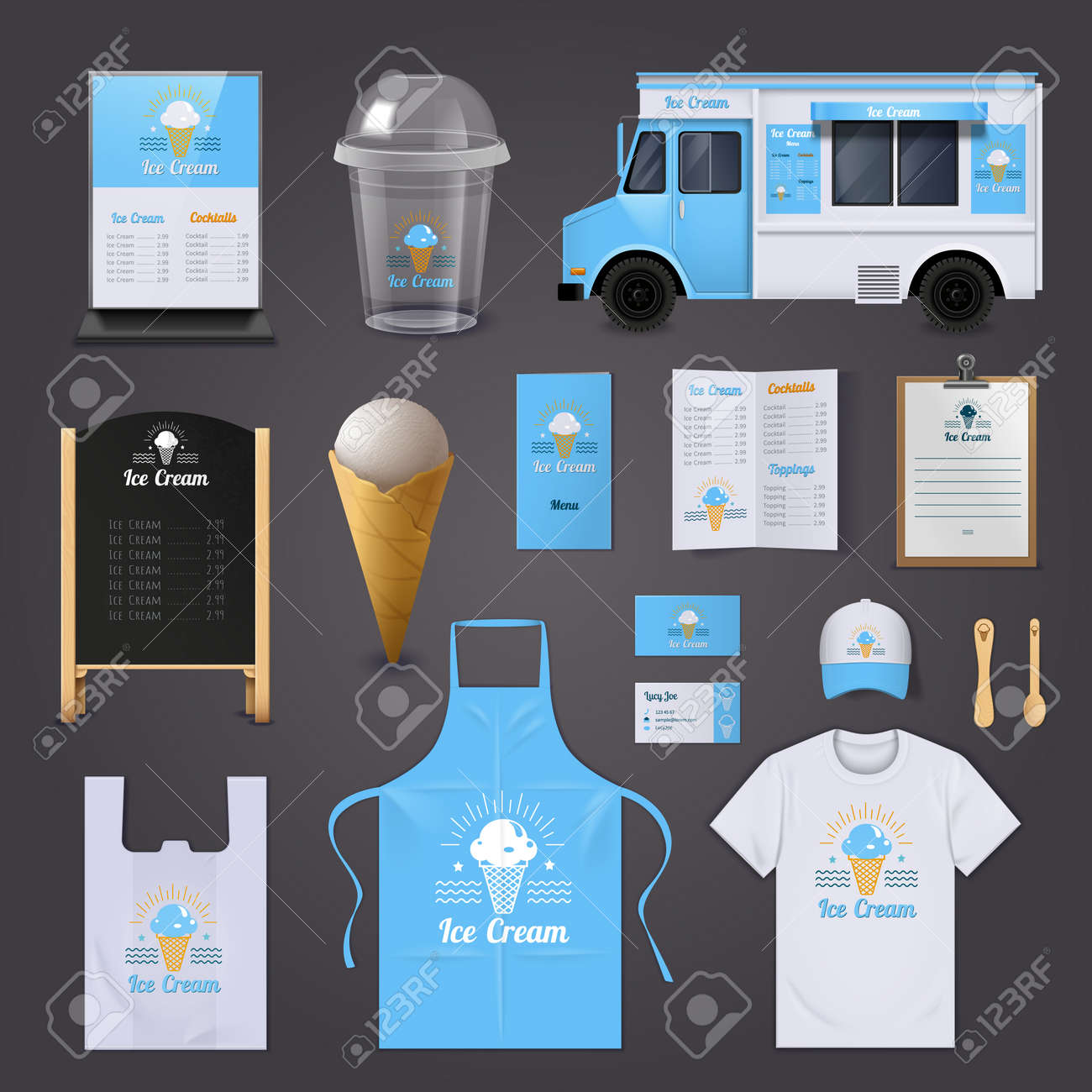 Ice cream corporate identity realistic icons set with apron menu and van isolated vector illustration - 165583242