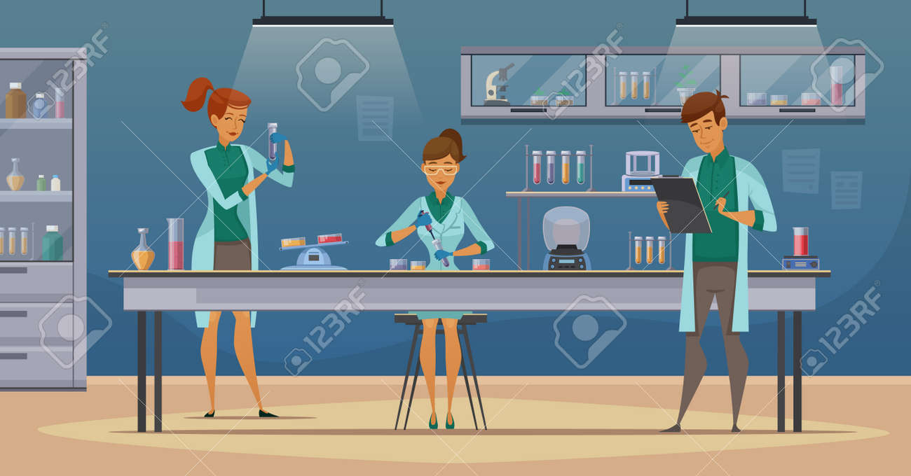 Laboratory assistants work in scientific medical chemical or biological lab setting experiments retro cartoon poster vector illustration - 165583566