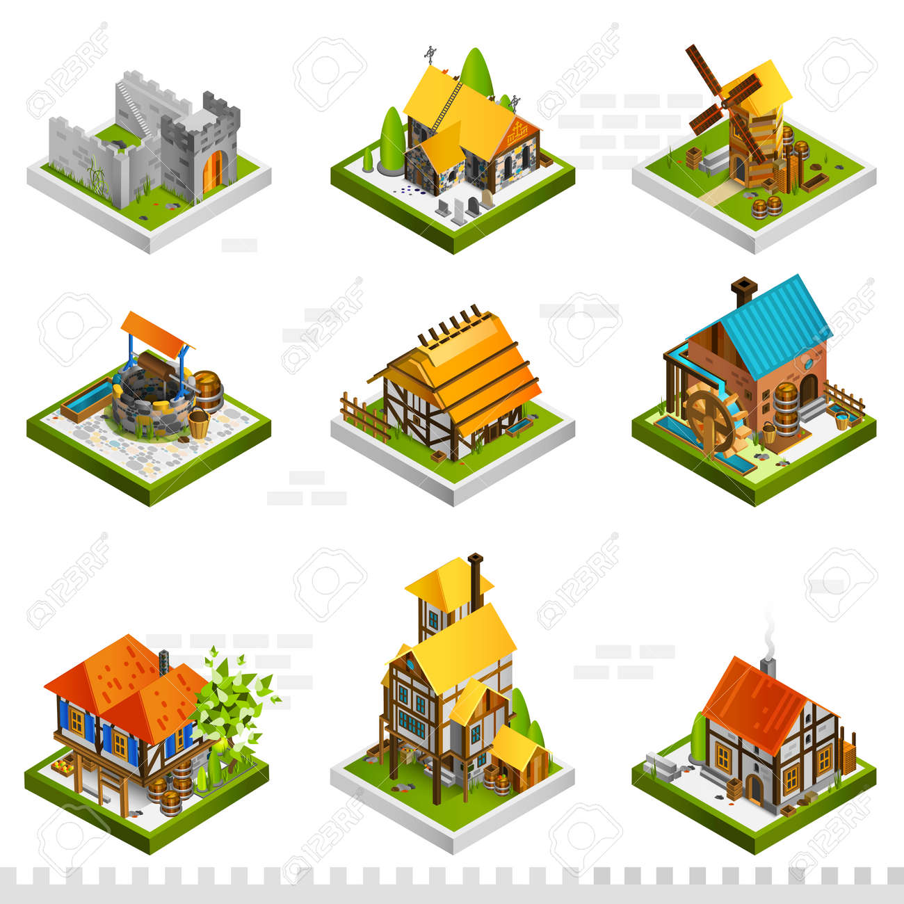 Medieval isometric buildings collection with ancient citadel houses on stilts mill and well isolated vector illustration - 165584840