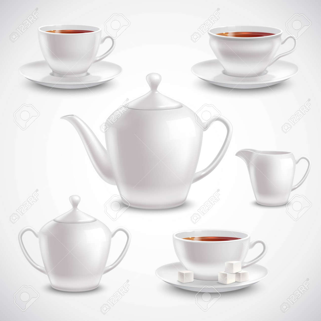Realistic tea set with filled teacups saucers pot and sugar bowl on white background vector illustration - 165584946