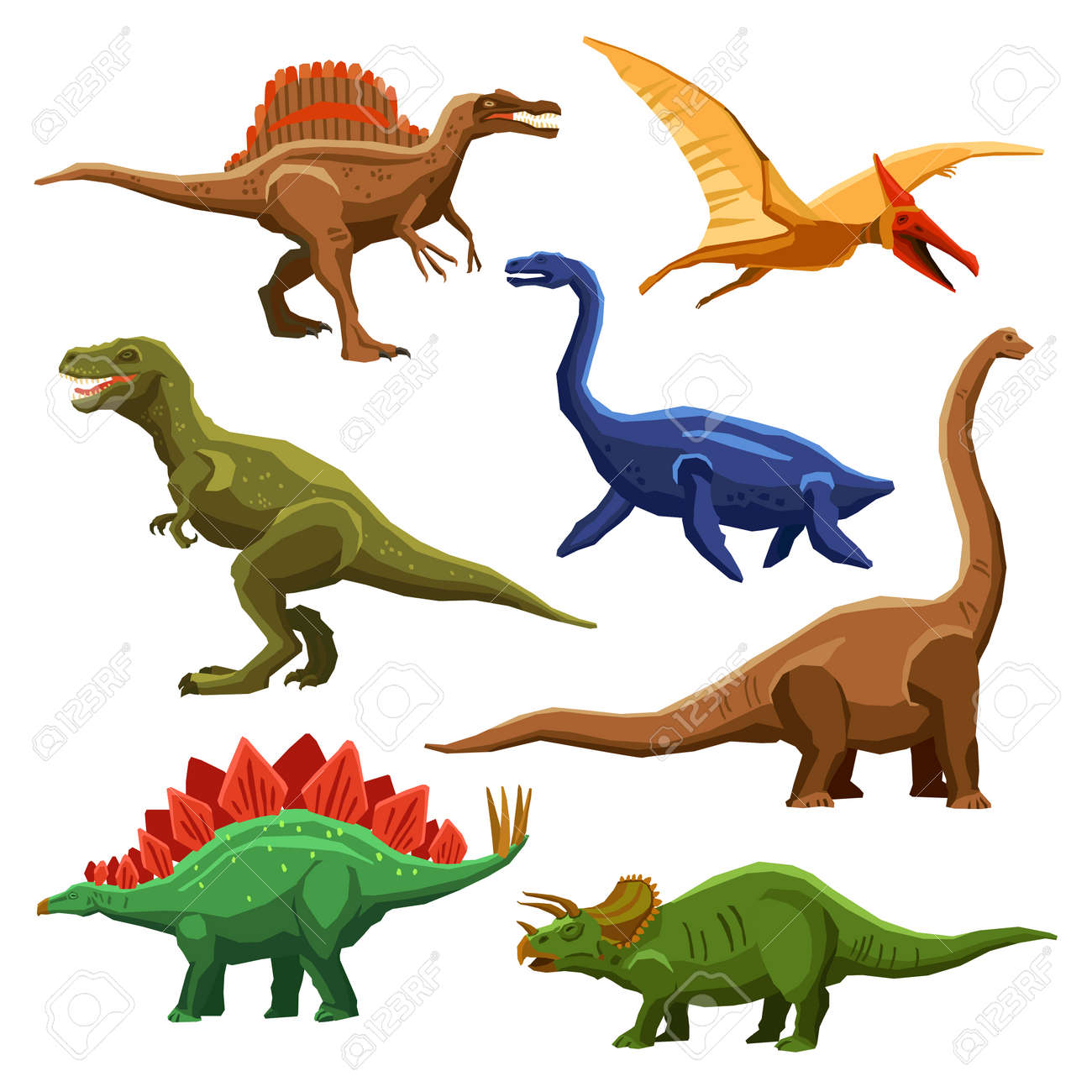 Dinosaurs color icons set in cartoon style on white background isolated vector illustration - 165585780