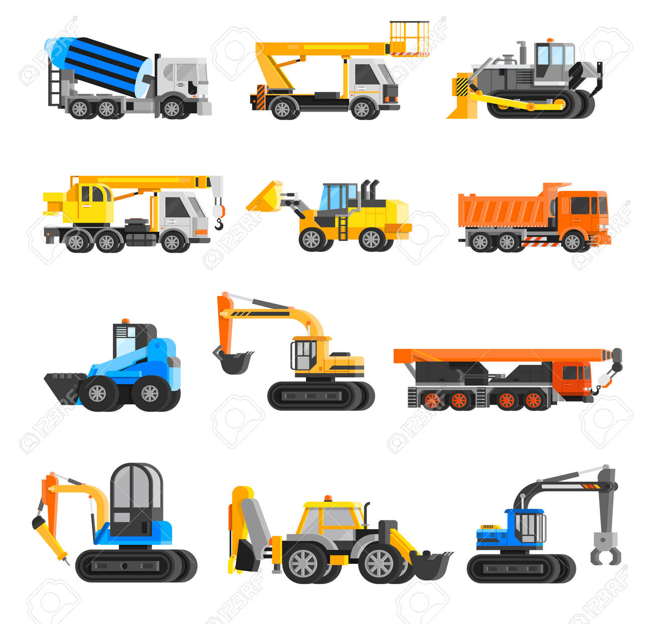 Construction machines orthogonal icons set with digger and crane flat isolated vector illustration - 165586464