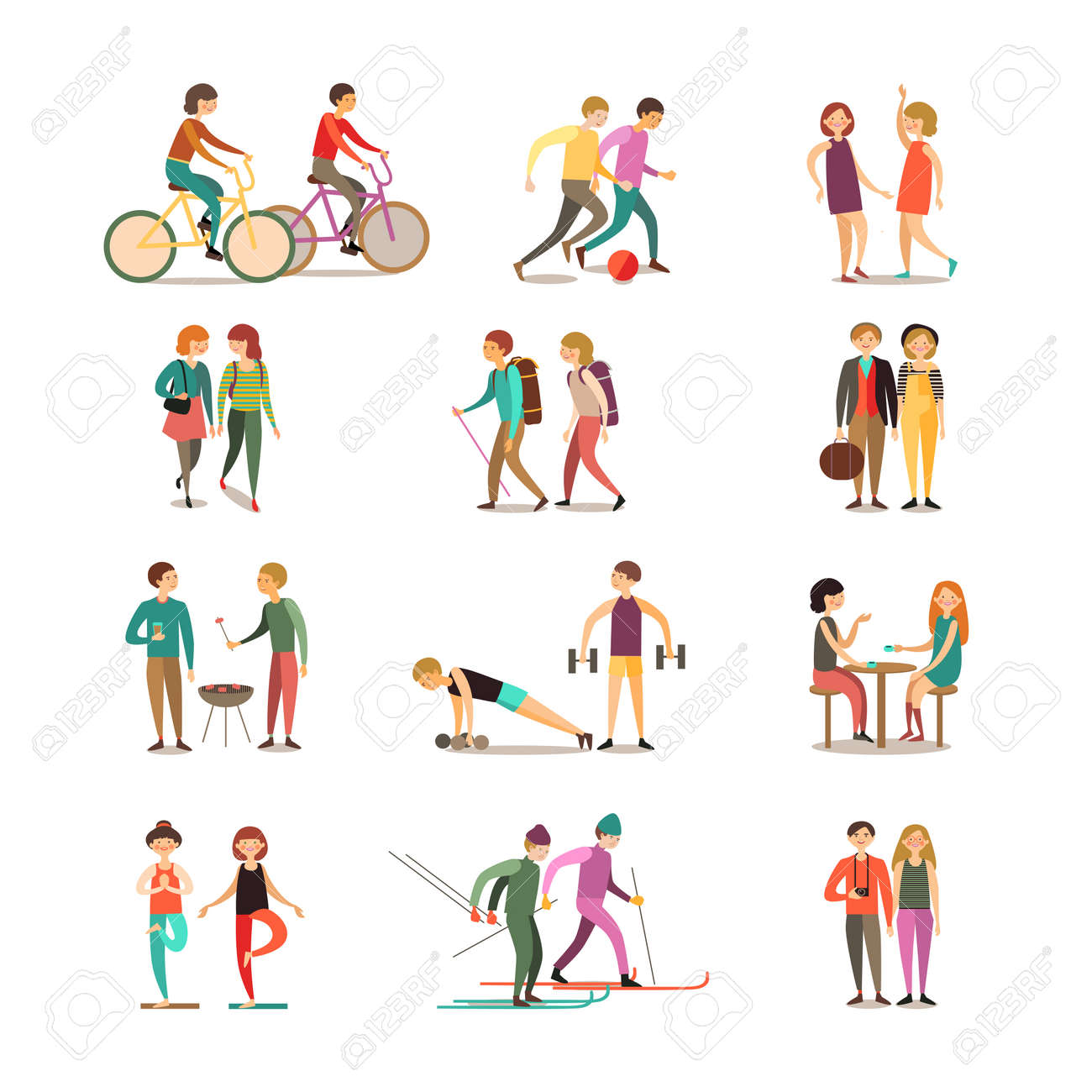 Friends and hobbies decorative icons set with hiking dancing soccer skiing barbecue sightseeing isolated vector illustration - 165598648