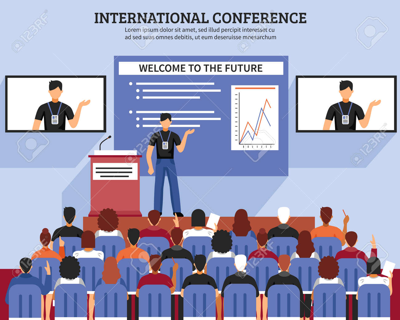 Presentation conference hall composition international conference welcome to the future descriptions vector illustration - 165524354